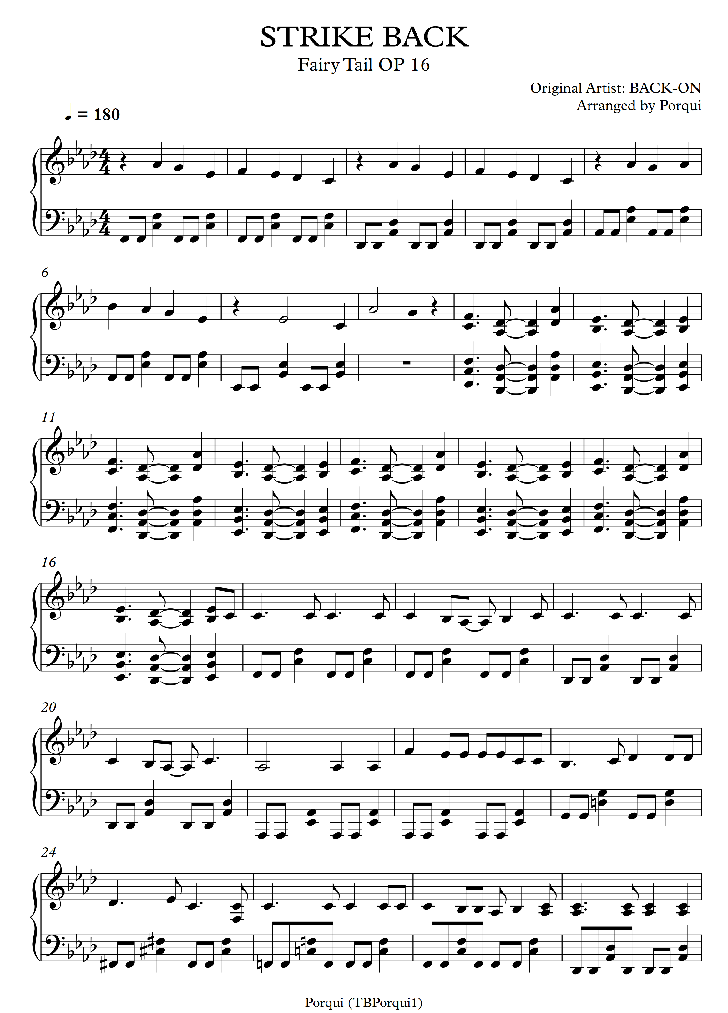 STRIKE BACK – Fairy Tail sheet music | Sheethost